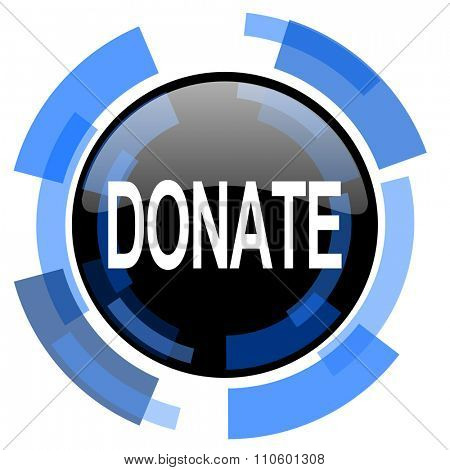 donate black blue glossy web icon