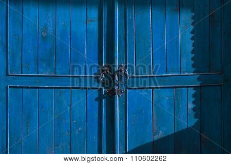 Old blue wooden door