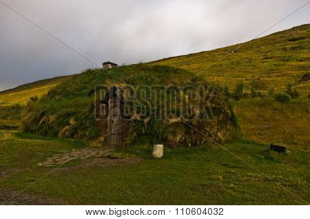 Reconstructed house of famous viking Erik the Red house at Eirikstadir