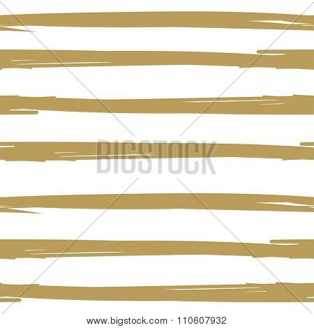 Hand drawn ink textured seamless striped background. White and gold colors vector vintage background. Scrapbooking, holiday cards, wallpaper, textile design.