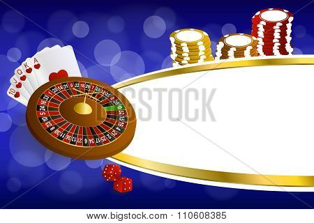 Background abstract blue gold casino roulette cards chips craps illustration vector