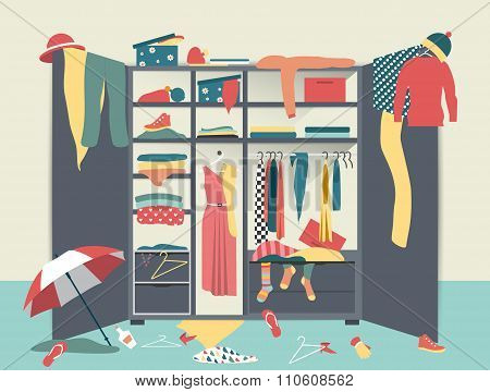 Open Wardrobe. Closet With Untidy Clothes.