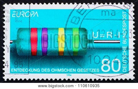 GERMANY - CIRCA 1994: a stamp printed in the Germany shows Discovery of Ohms Law, by Georg Simon Ohm, circa 1994