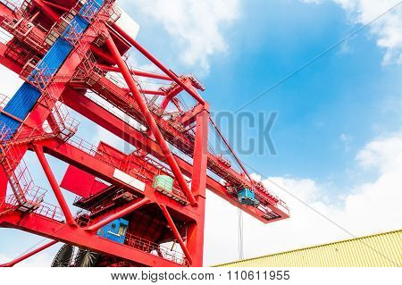 Harbor Crane On Rails In Port.