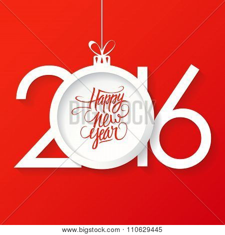 Creative happy new year 2016 text design with christmas ball. Happy new year hand drawn text design.