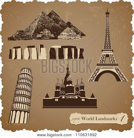 Travel Icon Set1, Sepia Vector Silhouettes