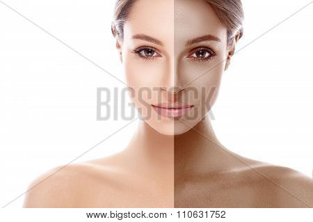 woman half face tan beautiful portrait