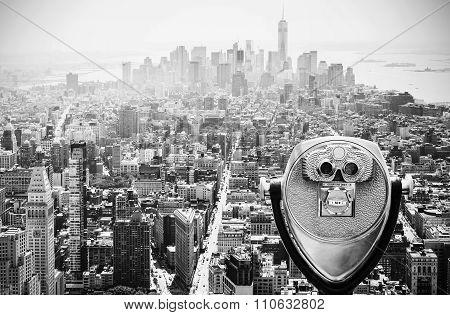 Binoculars Over Manhattan, Nyc, Usa.