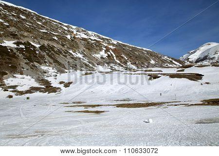 Campo Felice Abruzzo mountain landscape in Italy poster