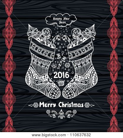 Christmas Stocks with gift package  in Zen-doodle style white on black wood