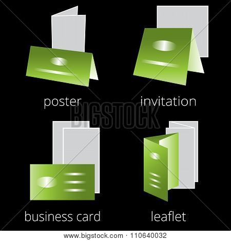 Printing shop services green icons set. Part 2