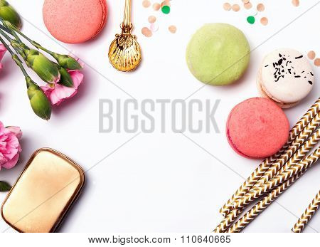 Flowers, Paper Straws, Macarons And Confetti