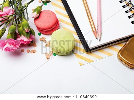 Flowers, Macarons, Paper Notepad And Pensils