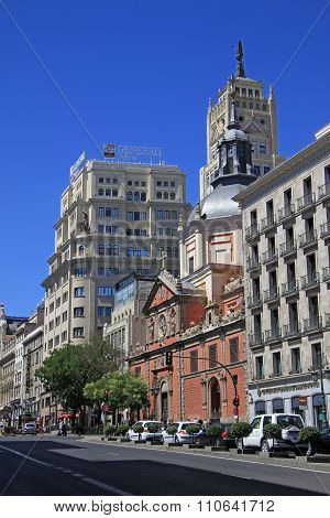 Madrid, Spain - August 23, 2012: View Of The Calle Alcala With The Church Of Las Calatravas, Edifici