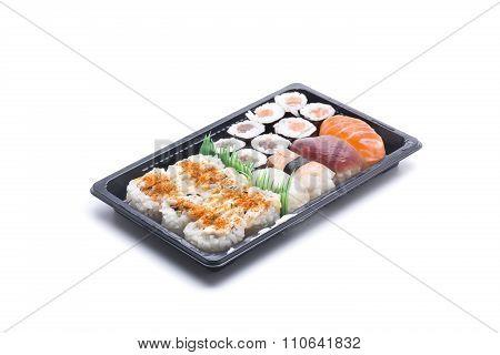 assortment of Japanese food including hosomakis nigiris and unagis