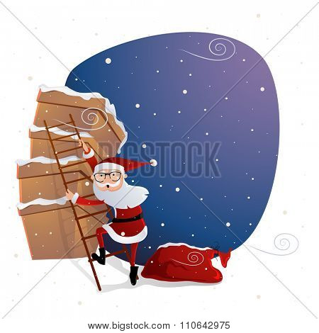 Illustration of Santa Claus climbing up on big gift boxes for Merry Christmas celebration.