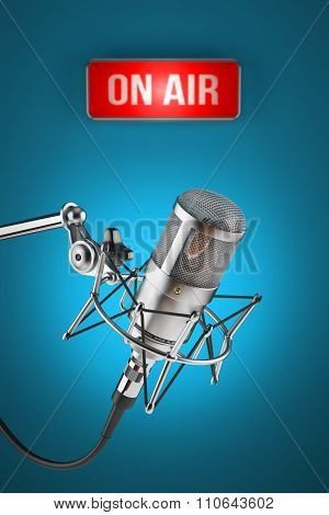 Studio Microphone Stand On Background Sign Light On Air