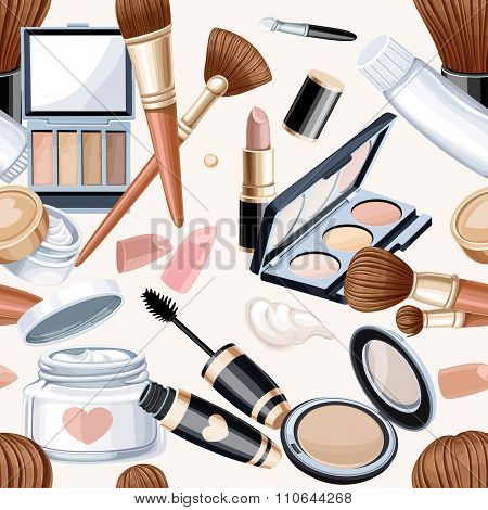Seamless Pattern From Cosmetics Objects In Bege Color