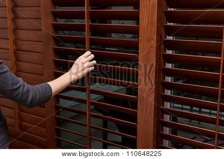 Wooden Horizontal Jalousie , Close , Women Hand