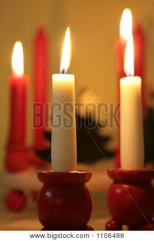 Christmas Candles In Wooden Holders