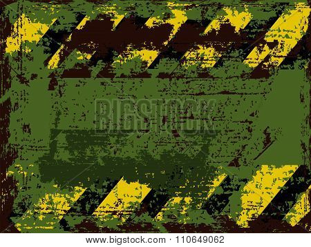 Vector Rusty Shabby Background With Weathered Warns Against Black With Orange Stripes