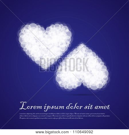 Twin Hearts Cluods Valentine Sentimental Blue Abstract Background