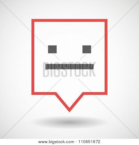 Isolated Tooltip Line Art Icon With A Emotionless Text Face