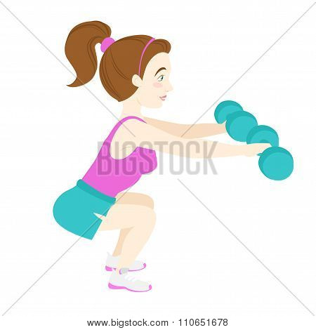 Cute fitness woman squatting with dumb-bells
