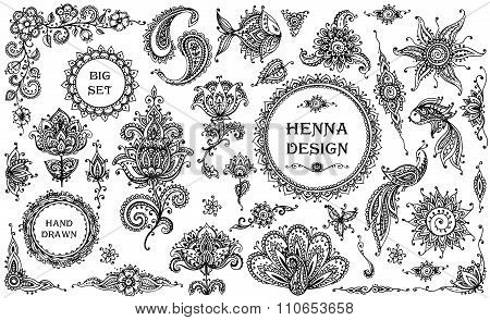Vector Set Of Henna Floral And Animal Elements