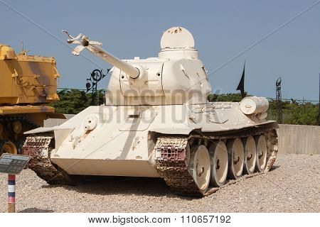 Latrun, Israel - April 02, 2010: T34-85 In Yad La-shiryon