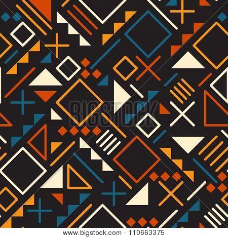 Vector Seamless Retro 80's  Jumble Geometric Line Shapes Tela Orange Color Pattern On Black Back