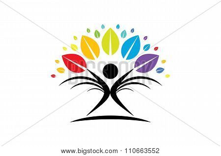 Creative Colorful Tree Human Concept