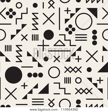 Vector Seamless Black And White Retro 80's  Jumble Geometric Line Shapes Hipster Pattern