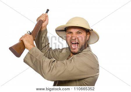 Safari hunter isolated on white