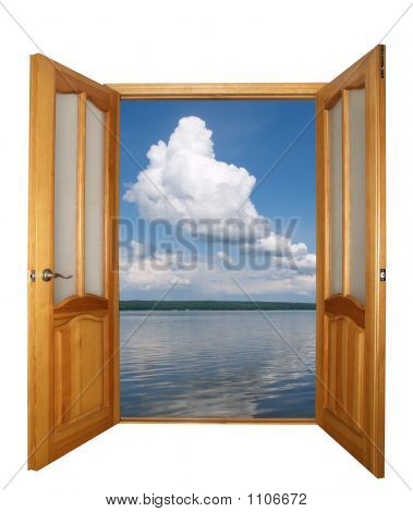 Door And Cloud Clipping Path
