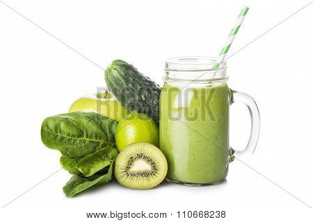 Green Smoothie Isolated On A White Background