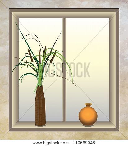 Cattails with Vase
