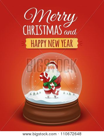 Christmas Greeting Card, Poster With Santa Claus In The Snow Globe. Vector Illustration