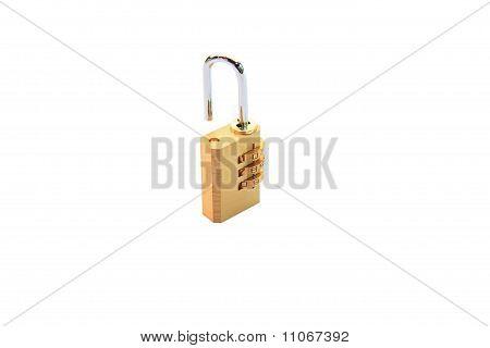 open metallic numeric padlock isolated on white
