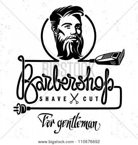 The template of poster to barbershop. Hand drawn lettering