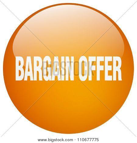 Bargain Offer Orange Round Gel Isolated Push Button