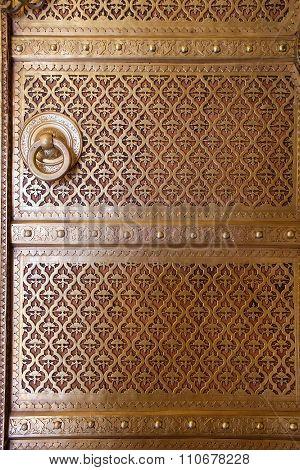 Close Up Of A Door In Rajendra Pol, Jaipur City Palace, Rajasthan, India