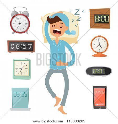 Alarm clock and sleeping man vector illustration. Sleeping man silhouette. Alarm vector clock watches. Morning time. People sleep. Deep night or morning time. Alarms collection
