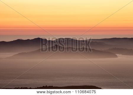 Hazy sunset over the Hills of the Golden-Gate National Recreation Area
