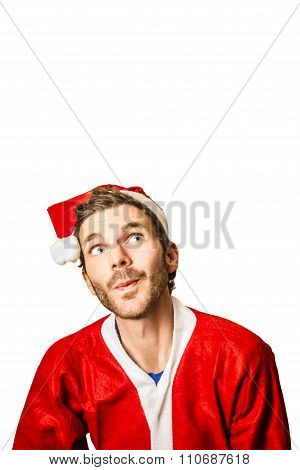 Man Looking To Christmas Advertising Copy Space