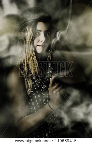 Dark Artwork Of A Female Soldier In Pistol Smoke