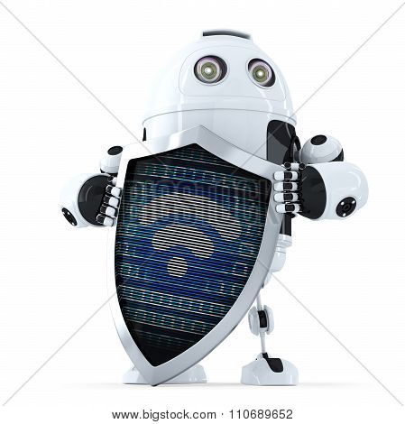 Robot with shield and wifi symbol on it. Internet security concept. 3D illustration. Isolated. Contains clipping path