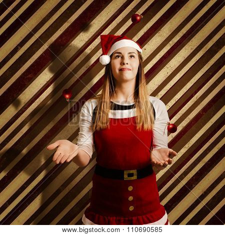 Vintage Female Elf Juggling Christmas Decorations