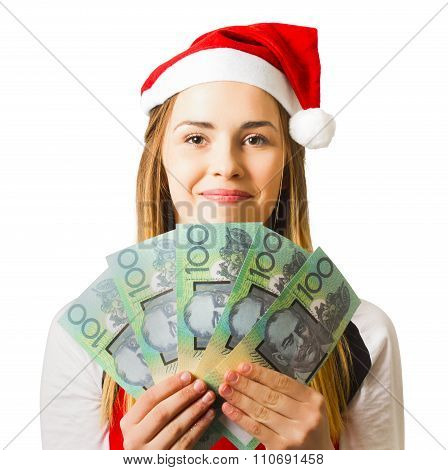 Christmas Shopping Girl Holding Australia Money