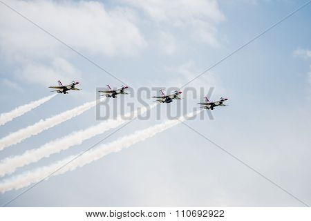 F-16 Fighter Jets At An Airshow